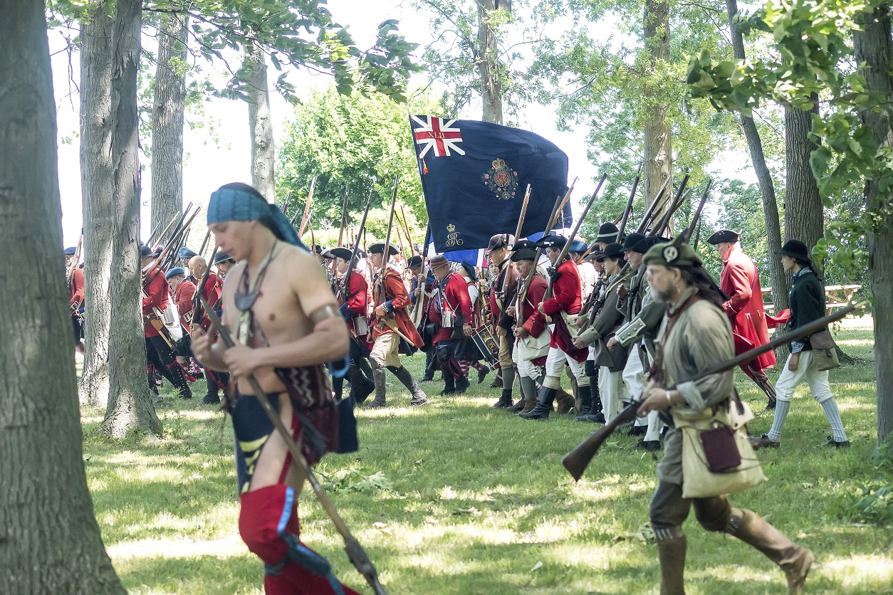Large-scale battle and artillery demonstrations are an exciting part of the French and Indian War Encampment, June 29-July 1, as the French, wearing ivory, and British, wearing red, recreate the siege of Fort Niagara. Visitors are encouraged to arrive an hour before the battles to give themselves enough time to get to the viewing areas.